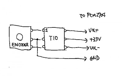 Rotary Encoder for PCM2704 (Schematic)